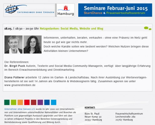 Vortrag Social Media von gruenestreiben.de Frauennetzwerk Hamburg