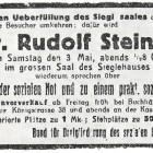Anzeige für einen Vortrag von Rudolf Steiner, in der Zeitung