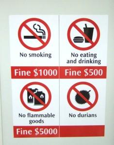 Verbot der Durianfrucht in der Metro Singapore, Quelle: Wikipedia