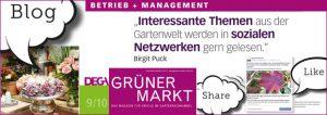 Artikel von gruenestreiben.de: Social-Media für die grüne Branche. Erschienen Ausgabe 9/10 2017
