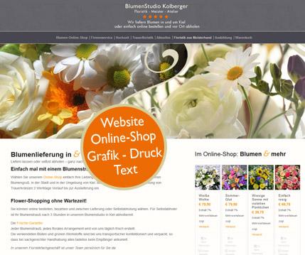Website und Onlienshop für Floristen. Flyer + Firmenpräsentation