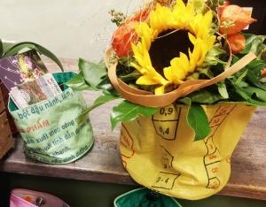 für Blumen und Pflanzen bead-bags, Taschen, fair und bio, von der UNESCO ausgezeichnet, Foto BlumenStudion Kolberger