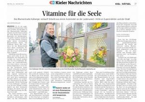 Artikel über das Blumenstudio Kolberger in den Kieler Nachrichten, erschienen durch Pressearbeit von gruenestreiben, Thema: Blumenautomat